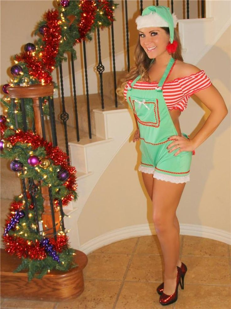 Sexy Christmas Naughty Enticing Little Green Elf Suspenders Lingerie Helper #NA #CompleteCostume