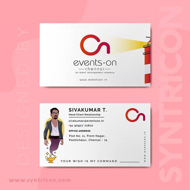 Business Card Design By Syntricon Technologies For Events On An Event Management Company Follow Us Business Card Design Card Design Event Management Company