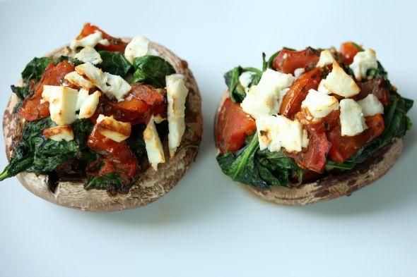 I Love Health | Portobello met spinazie, tomaat en feta | http://www.ilovehealth.nl