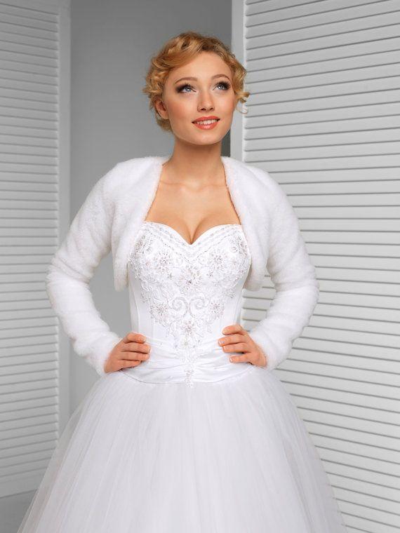 Winter Bridal Bolero Warm Bridal Jacket White by MeshkaBridal