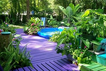 Purple Porch ParadiseIdeas, Painting Decks, Colors, Painting Wood, Gardens, Funky Junk, Outdoor Sitting Area, Backyards, Home Improvements