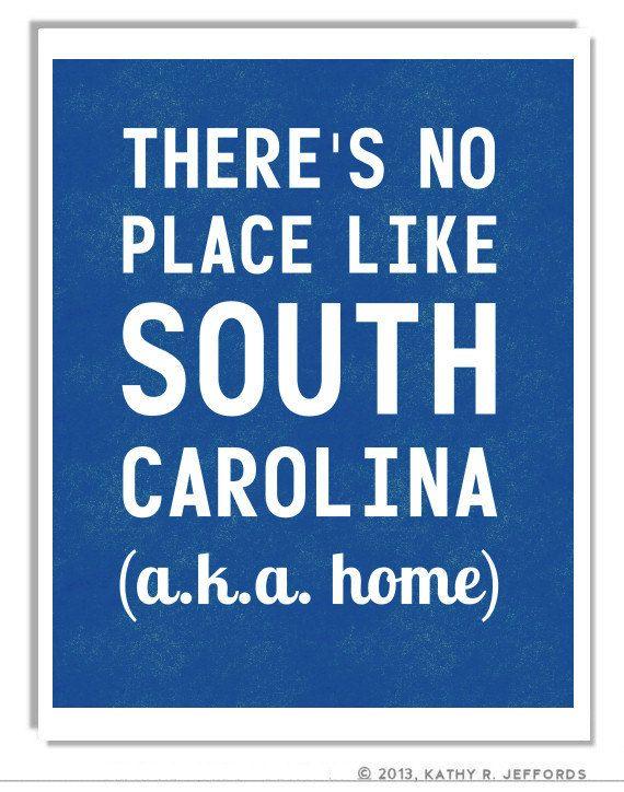 South Carolina Typographic Print. There's No Place Like SC. There's No Place Like Home For Carolina Girls. Royal Blue Palmetto State Art.