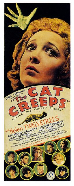 The Cat Creeps...while the canary sleeps! #vintage #1930s #movies #posters