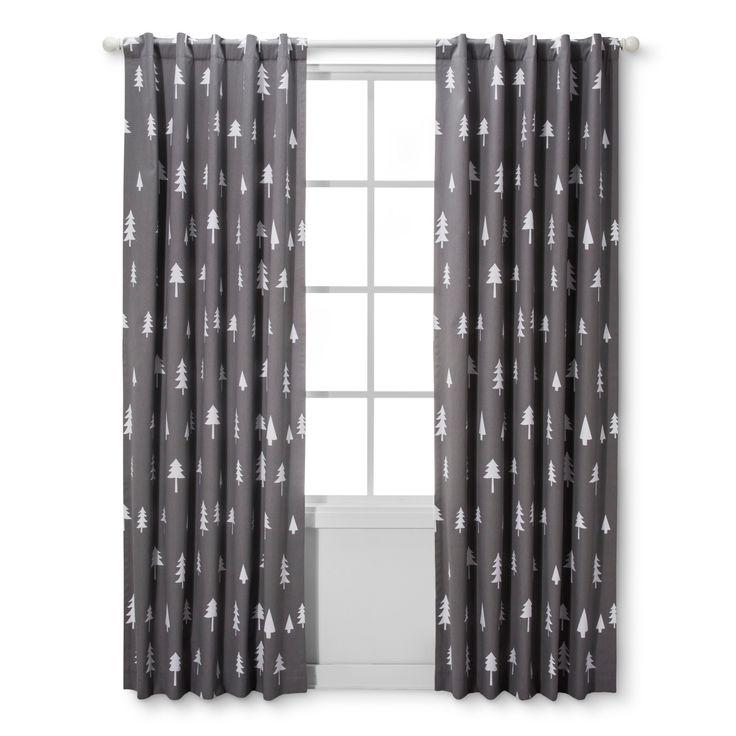 "Light Blocking Curtain Panel Trees (42""x84"") - Cloud Island - Gray"