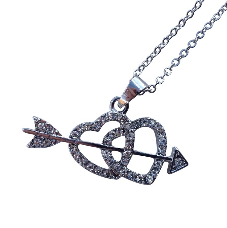 """16"""" + EXT Clear Rhinestone Heart w/ Arrow Necklace Retail - $25.10 You Pay - $12.55 w/ free shipping in the US."""