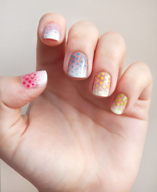 Pretty (Squared): Frosted Gumdrops Nail Art Tutorial - Dots, French Tip and Ombre Manicure #tutorial #cute #pretty #dot #ombre #pink #blue #nails #nailart #nail polish