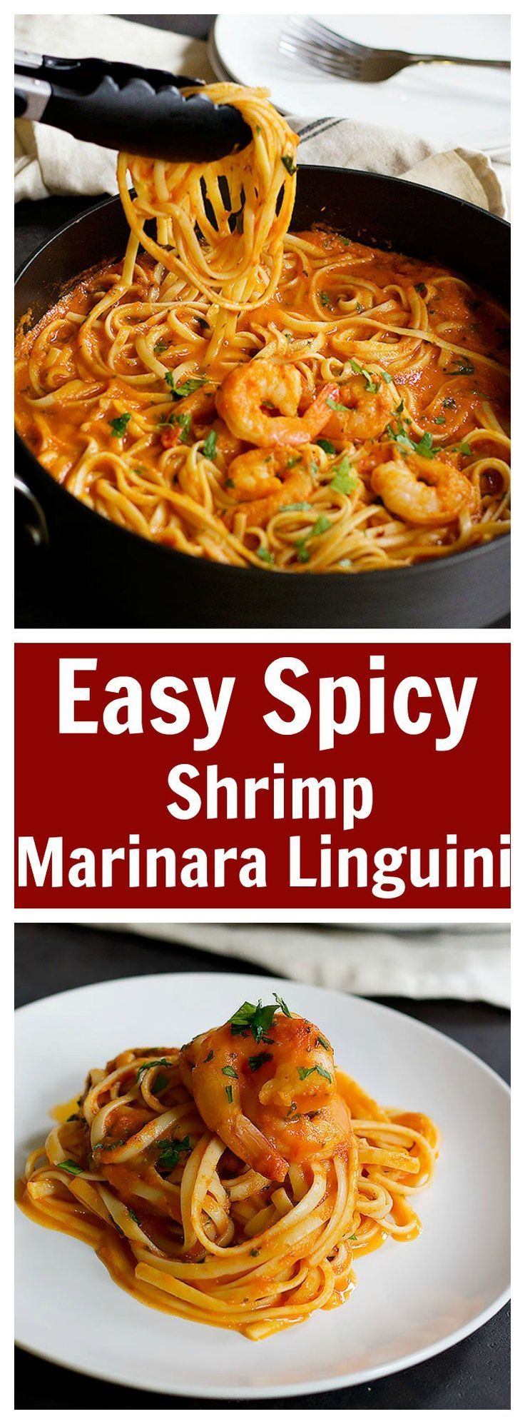 This Easy Spicy Shrimp Marinara Linguine will be on your table in less than 45 minutes and it tastes amazing! With the right amount of spiciness, this pasta will become everyone's favorite!