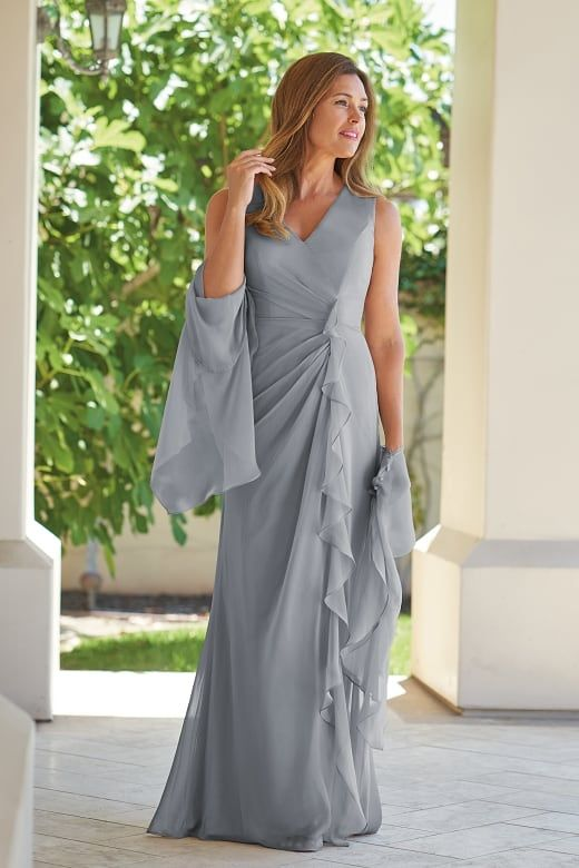 2e405ab803aeb J215005 Jade Tiffany Chiffon MOB Dress with V-Neckline | Mother of ...