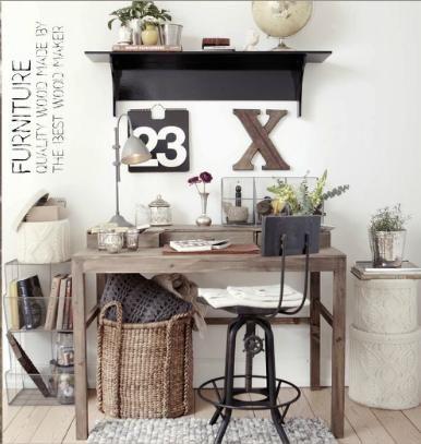 Escritorio en madera natural o blanco :: Tiendas de decoracion | Decoracion rustica | Decoración online