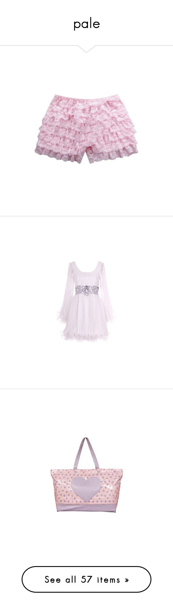 """""""pale"""" by december-woods ❤ liked on Polyvore featuring shorts, bottoms, underwear, kawaii, lacy shorts, pink shorts, pink lace shorts, lace shorts, dresses and vestidos"""