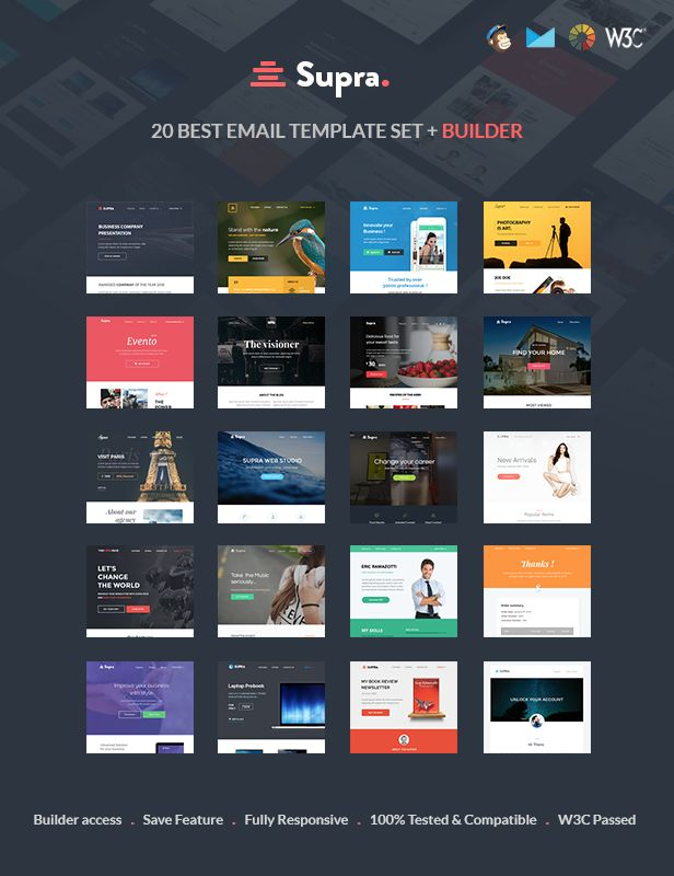 167 best best html email templates images on pinterest email supra pack of 20 templates online template builder pronofoot35fo Gallery