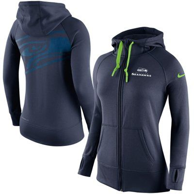 Women's Seattle Seahawks Nike College Navy Warpspeed All Time Full-Zip Performance Hoodie #NFLFanStyle #contest