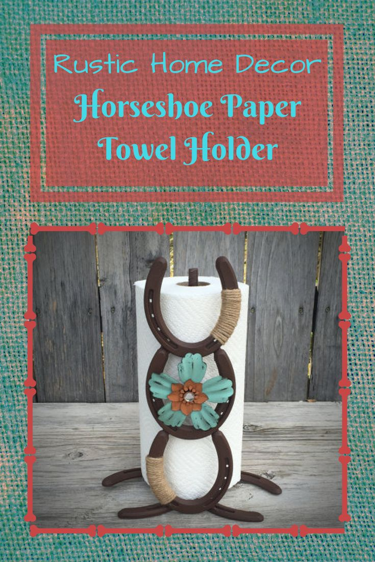 I love the colors on this!! It will go perfectly with my ranch style rustic home! Horseshoe Paper Towel Holder - Paper Towel Holder - Horseshoe Decor - Horseshoe Art - Rustic Paper Towel Holder - Country Paper Towel Holder #rustic #horseshoe #affiliate