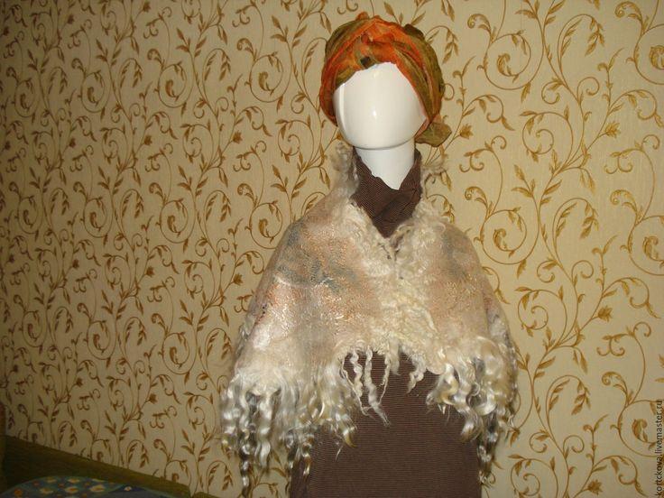 """Купить Эко шарф бактус женский валяный """"Нежный"""" - абстрактный, шарф женский, шарф шерстяной"""