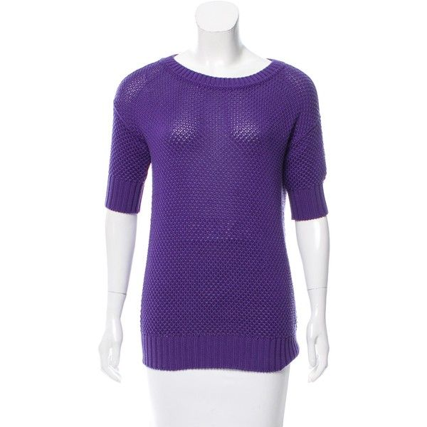 Pre-owned Loro Piana Crochet Knit Short Sleeve Sweater ($145) ❤ liked on Polyvore featuring tops, sweaters, purple, short sleeve tops, knit sweater, knit crew neck sweater, purple top and short sleeve knit sweater