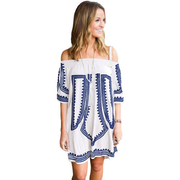 White Bohemian Vibe Geometric Print Off The Shoulder Beach Dress (€22) ❤ liked on Polyvore featuring dresses, white dress, off the shoulder dress, sexy summer dresses, white boho dress and beach kaftan