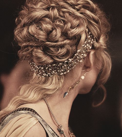 renaissance...headband UNDER the curls... don't like the part that isn't very curly though.