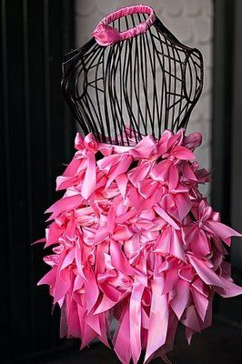 Pink Ribbon Dress Form great for a breast cancer event. We sell wire dress forms like this at MannequinMadness.com