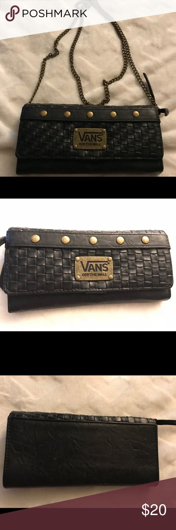 Vans Wallet with chain Black and Gold Wallet - turns into a crossbody purse with chain Vans Bags Crossbody Bags
