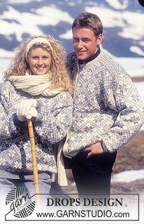 Drops genser eller jakke i Karisma eller Camelia med nordisk Stjerner i Ruter. Pannebånd og sokker i Karisma. ~ DROPS Design