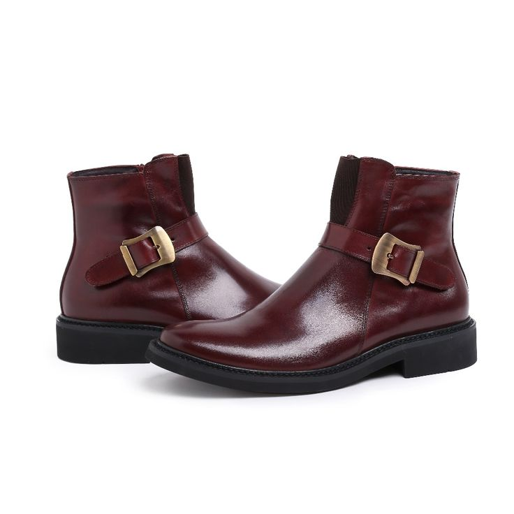 Fashion brown / black mens ankle boots genuine leather dress boots autumn mens motorcycle boots casual shoes with buckle