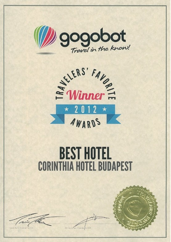 Corinthia Hotel Budapest received award from Gogobot  On 8 April 2013, Corinthia Hotel Budapest was named one of the Best Hotels in Europe in the 2012 Gogobot Travelers' Favorite Awards.