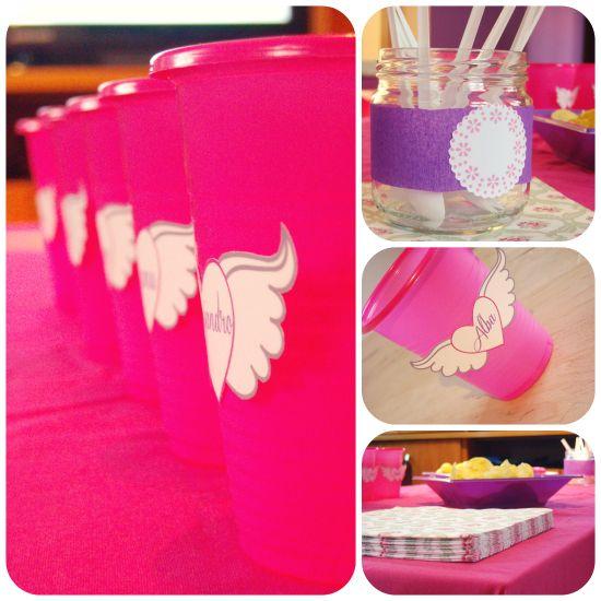 Etiquetas para los vasos para la celebracion del cumpleaños de Daniela