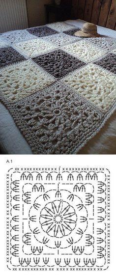 Cuadrados crochet                                                                                                                                                                                 Más