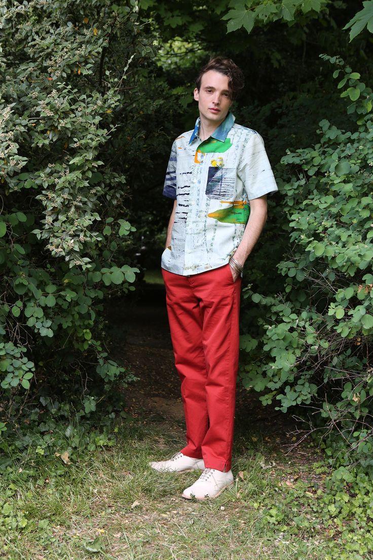 chemise impression africaine pantalon en coton surteint rouge