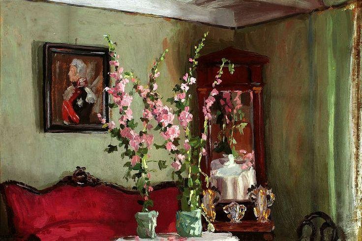 Ferdynand Ruszczyc - Interior of a living room in Bohdanów, Hollyhocks