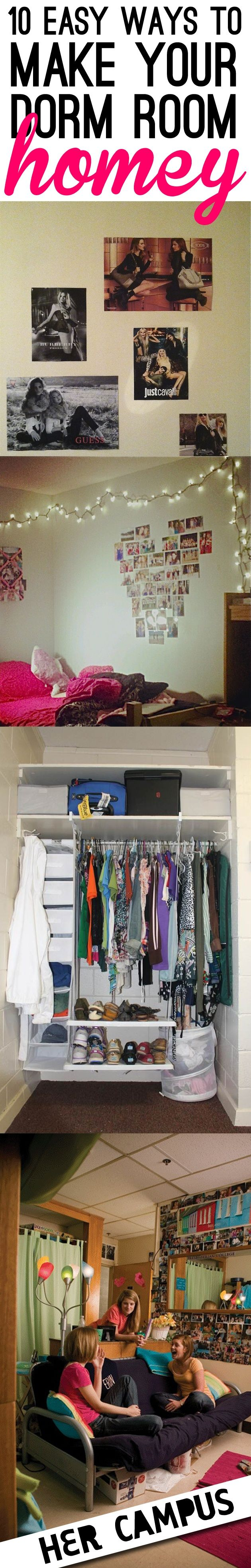 10 Ways To Make Your Dorm Room Feel More Homey #dorms #collegedorms