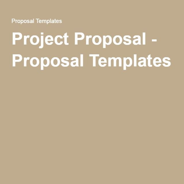 Project Proposal - Proposal Templates