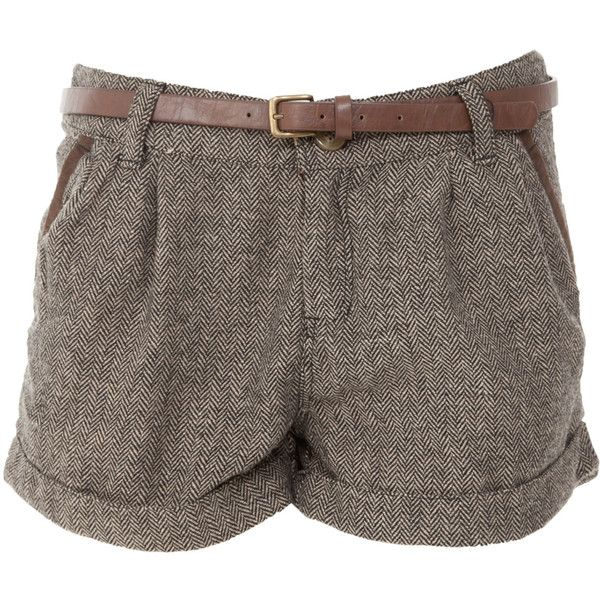 Soul Cal Deluxe Turn Up Tweed Shorts ($12) ❤ liked on Polyvore featuring shorts, bottoms, pants, short, women, brown shorts, short shorts, tailored shorts, tweed shorts and brown short shorts