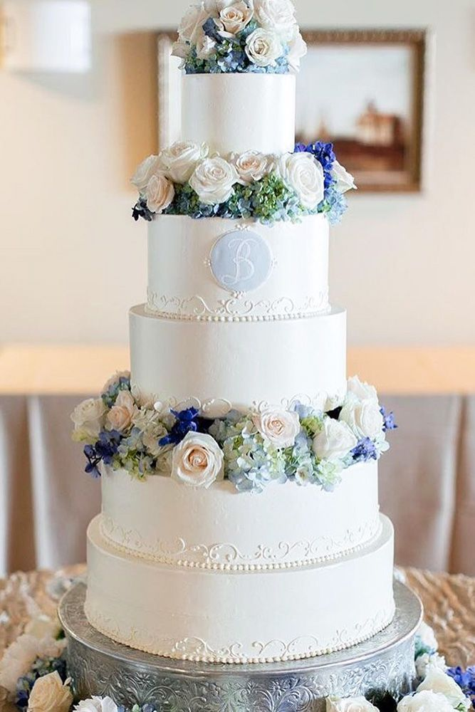 Elegant Wedding Cake #cake #wedding #flowers #piping #buttercream