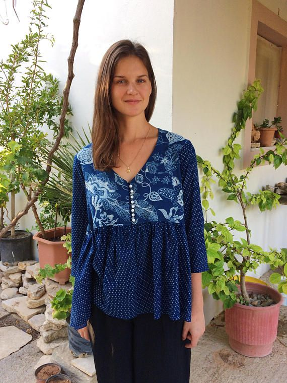 Russian Chic Blouse  Block printed cotton  Indian Style