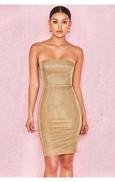 58b3c928c548 Clothing : Bodycon Dresses : 'Rinah' Iridescent Gold Strapless Mini Dress