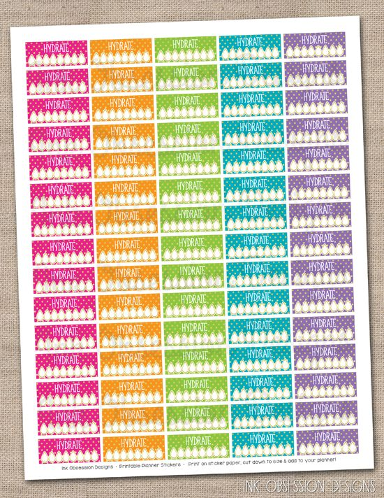 Hydrate Planner Stickers Instant Download DIY Printable PDF