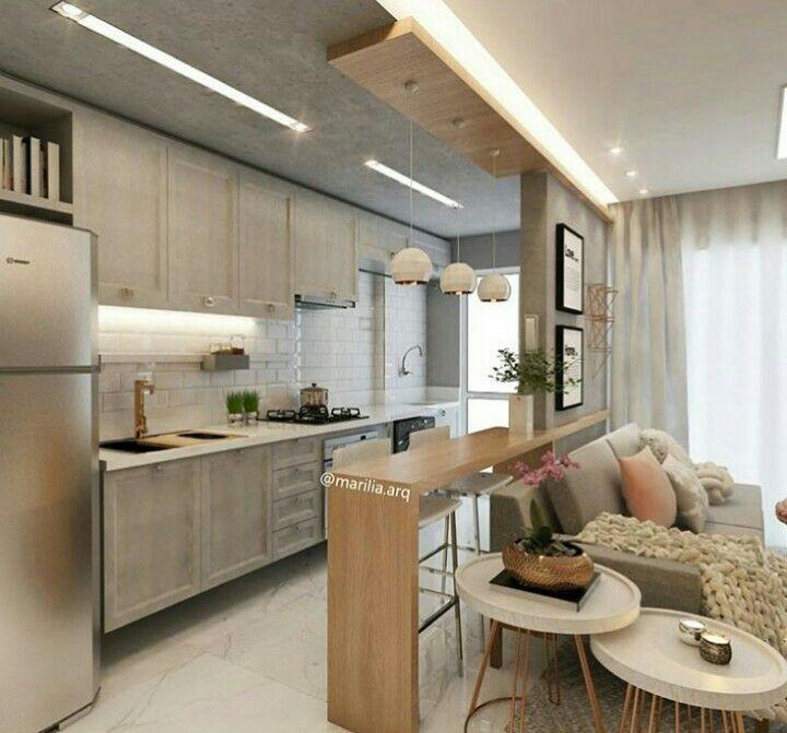 30 cores atuais para armários de cozinha pequena - Simples