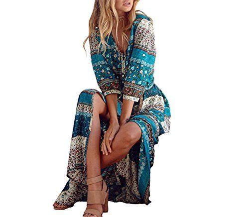 Chiffoned New Sprinting Bohemian Women Long Dress Retro Floral Hippie Dresses Clothing Brand Dress 3
