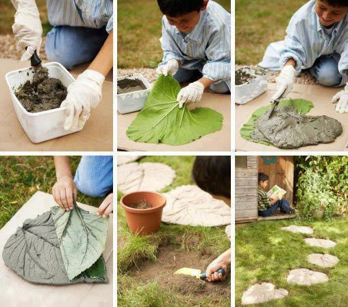 Diply.com - Rhubarb Leaf Stepping Stones