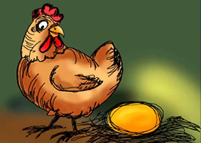 Fábula corta : La Gallina de los Huevos de Oro   Dicen que la avaricia rompe el saco. Un buen ejemplo es del hombre que hubo una vez, cuya gallina todos los días le ponía un hermoso huevo de oro.