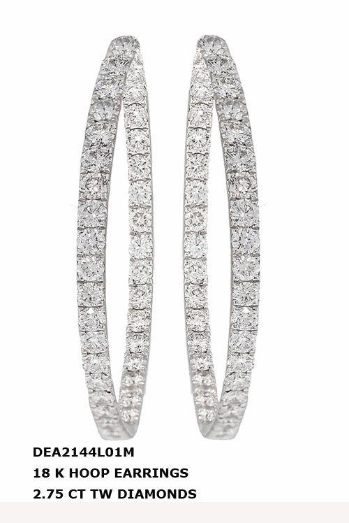 DEA2144L012M 18 K HOOP EARRINGS 2.75 CT TW DIAMONDS