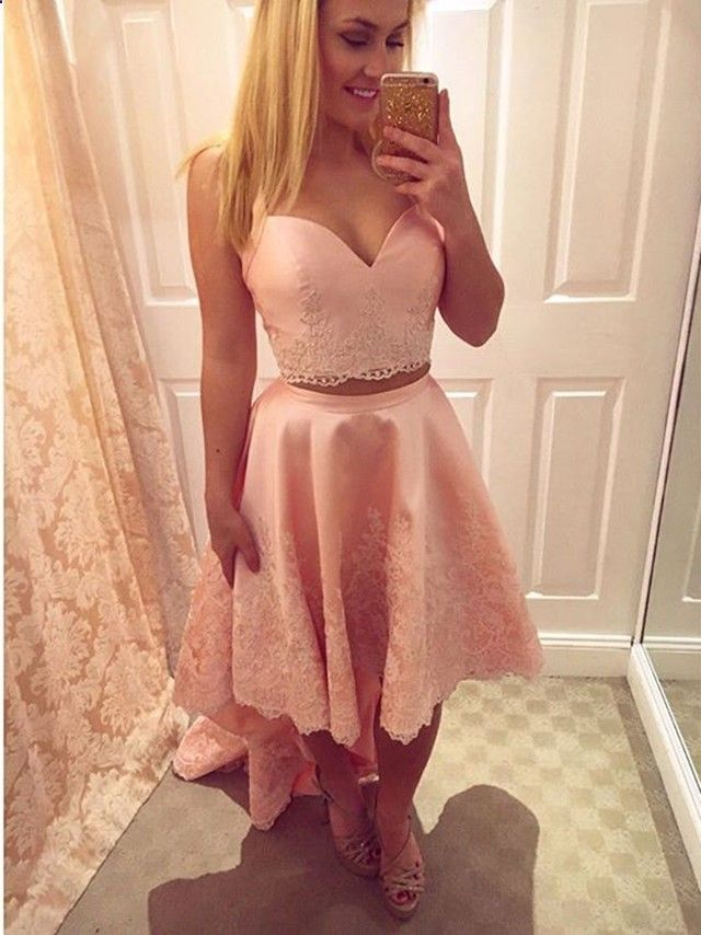 Sweetheart Pink Two Pieces Homecoming Dress,Straps High Low Short Prom Dress,Lace Prom Party Dress