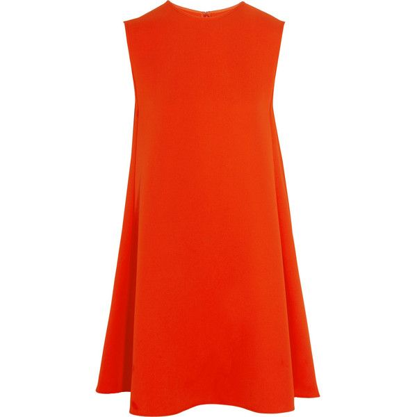 McQ Alexander McQueen Crepe mini dress (2.155 RON) ❤ liked on Polyvore featuring dresses, red, mullet dress, red dress, hi low dress, mini dress and short red dress