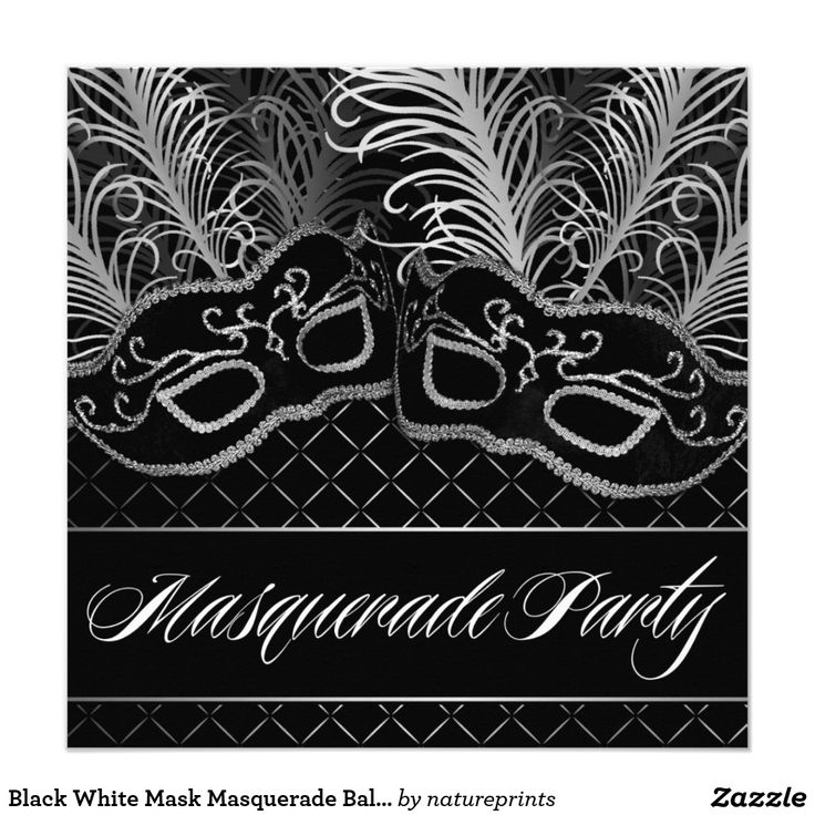 Black White Mask Masquerade Ball Party Invitations Black White & Silver Mask Masquerade Ball Party Invitations -- feature two masks in black with silver trim and white and silver feathers over top a black and silver criss-cross background. You can use these invites for any occasion that you choose -- a birthday, sweet 16, quinceanera (sweet 15), themed party, and any other type of event. These masquerade ball invitations are set to high quality card stock; however, you can upgrade to linen…