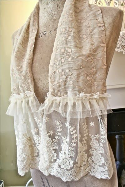 Making Shabby Scarves From Vintage Table Runners And Lace. <3 <3