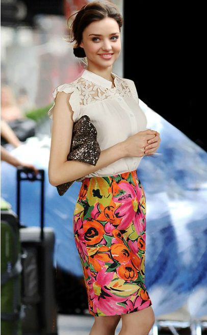 European Fashion Lace Chiffon Short Sleeve #Shirt & Floral #Skirt