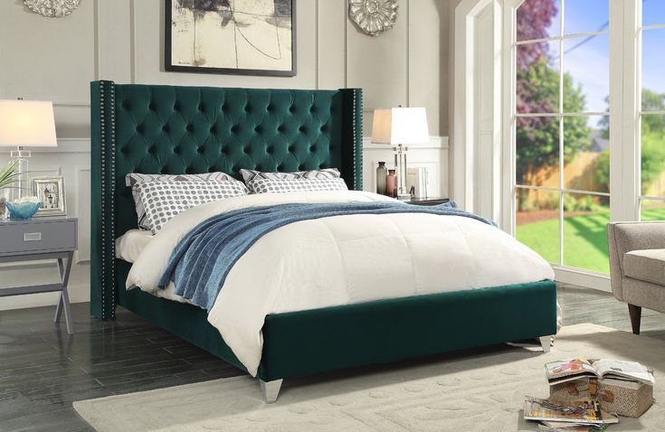 Inverness Upholstered Platform Bed  Dark green and beautiful!