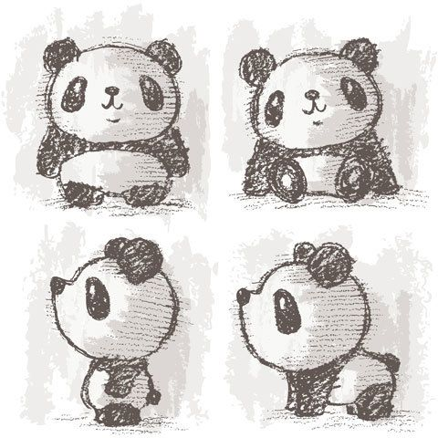 Panda drawing by Toru Sanogawa, via Behance