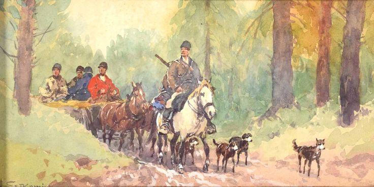 """Setkowicz Adam (1876-1945) """"Wyjazd na polowanie"""""""